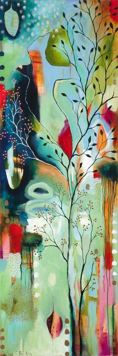 Flora Bowley - abstract intuitive painting of a tree , branches, leaves, twig Pintura Graffiti, Flora Bowley, Arte Pop, Love Art, Painting Inspiration, Painting & Drawing, Painting Canvas, Canvas Art, Amazing Art