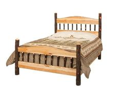 Amish Rustic Cabin Hickory Panel Bed Climb into the cozy offered by this authentic hickory panel bed made in Amish country.