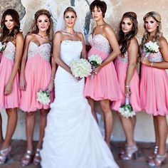 Perfect Sweetheart Bridesmaid Dresses, Hot Pink Empire Bridesmaid Dress, Sweet Chiffon Short Bridesmaid Dress with Beaded Bodice,Off the shoulder dress