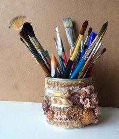 Банка для карандашей, кистей и т.д., ручная работа, винтаж, декор железных банок, подарок своими руками, скрап