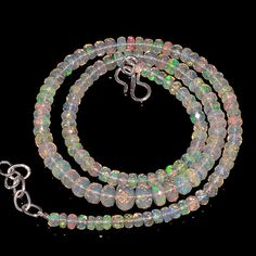 """56CRTS 4to7MM 18"""" ETHIOPIAN OPAL FACETED RONDELLE BEADS NECKLACE OBI2144 #OPALBEADSINDIA"""