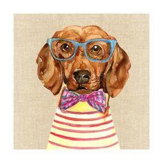 Dachshund With Fashion Glasses Canvas Art - Jin Jing x Wall Art Prints, Poster Prints, Canvas Prints, Posters, Dog With Glasses, Arte Dachshund, 3 Arts, Whimsical Art, Animal Paintings