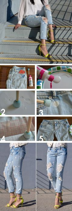 Easy polka dot jeans hack click pic for 25 simple life hacks every girl sho Diy Clothes Videos, Clothes Crafts, Diy Clothes Storage, Life Hacks Every Girl Should Know, Polka Dot Jeans, Fashion Model Poses, Fashion Tips, Diy Clothes Refashion, Beauty