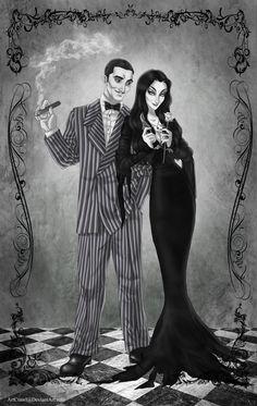 Gomez and Morticia by ArtCrawl