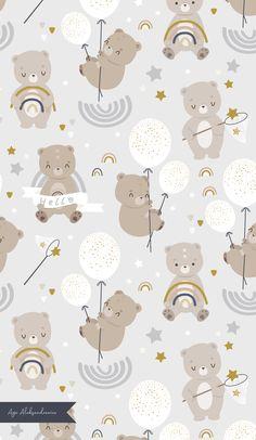 Black Background Wallpaper, Kids Background, Background Patterns, Bear Illustration, Watercolor Illustration, Kids Prints, Baby Prints, Dibujos Baby Shower, Textile Design