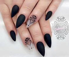 Check these out matte acrylic nails… - Stiletto Nails Ideas - Fashion Acrylic Nails Natural, Acrylic Nails Stiletto, Matte Black Nails, Short Stiletto Nails, Matte Nail Art, Black Nail Art, Black Nail Designs, Acrylic Nail Designs, Nail Art Designs