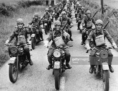 December The motorcycle division of the Czech army training, on BSA 20 machines, in England during World War II.(Photo by Taussig/Fox Photos/Getty Images) Military Photos, Military History, Army Training, War Dogs, Army Vehicles, Cool Motorcycles, Dieselpunk, World War Two, Armed Forces