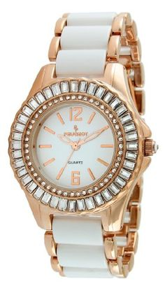 Women's Wrist Watches - Peugeot Womens 7066RG Crystal Accented Rose Gold White Acrylic Link Watch >>> Check out the image by visiting the link. (This is an Amazon affiliate link)