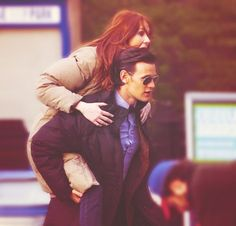 Karen Gillan and Matt Smith during season 7 filming