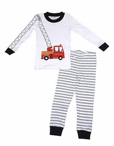 Sara's Prints Boys Gray Striped Two Piece Pajamas - Red Hook & Ladder Firetruck