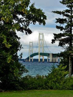 Mackinac Bridge as seen from Fort Michilimackinac, Mackinaw Michigan.  This is the Lake Michigan side of the bridge.