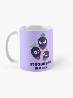 """""""Strobbery, In A Jam"""" Mug by grumblebeeart   Redbubble Stealing strawberries in the middle of a robbery. Funny berry slogan gift. Food Illustrations, Strawberries, Slogan, Middle, Artists, Ceramics, Mugs, Tableware, Creative"""
