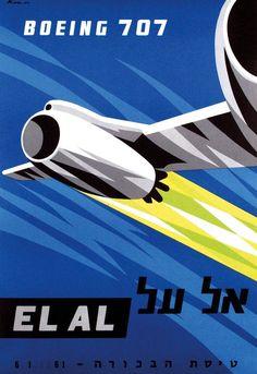 EL AL Boeing 707 Vintage Airlines Poster ~ Paul Kor, 1960