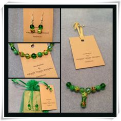 Earings, necklace and bracelet set featuring green glass and beautiful millefiori. Bracelet Set, Jewelry Design, Drop Earrings, Glass, Green, Beautiful, Drinkware, Corning Glass, Drop Earring