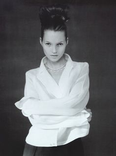 """""""Camicia Bianca"""": Kate Moss by Paolo Roversi for Vogue Italia, February 1996"""