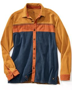 Piece of the Action Button Front Shirt. This cotton jersey knit is vintage washed for softness, and the artful color blocking showcases your unique sense of style.