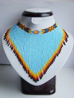 Boho blue beaded choker Indian necklace American necklace Native american indian jewelry American je - new season bijouterie Modern Jewelry, Boho Jewelry, Beaded Jewelry, Druzy Jewelry, Prom Jewelry, Jewelry Model, Metal Jewelry, Collar Indio, Indian Necklace