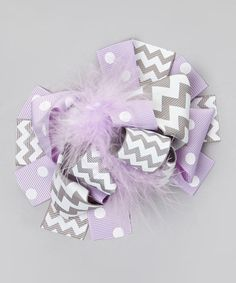 Love this Purple & Gray Chevron Feather Bow Clip by Under The Hooded Towels on #zulily! #zulilyfinds
