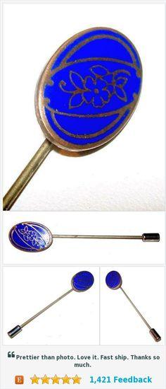 """Art Nouveau Floral Stick Pin Blue Enamel Gold etched Metal 2 3/4"""" Vintage Antique https://www.etsy.com/BrightgemsTreasures/listing/540027202/art-nouveau-floral-stick-pin-blue-enamel?ref=shop_home_active_2"""