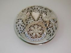 RARE ANTIQUE SOLID SILVER AND INTRICATELY CARVED MOTHER OF PEARL COMPACT