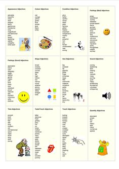 adjectives list - English