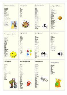 adjectives list - English