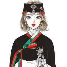 #낙서#그림#일러스트#black#한복#생활한복 Korean Traditional Dress, Traditional Outfits, Illustrations, Illustration Art, Character Inspiration, Character Design, Anime Korea, Korean Art, Manga Drawing