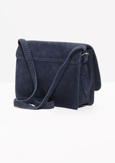 Other Stories image 2 of Suede Messenger Bag in Navy Mobile Pocket 57aef67fa7eea