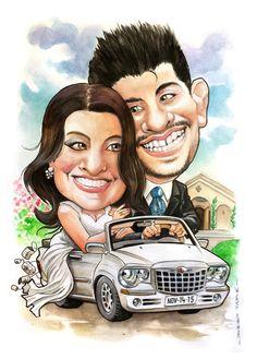 Casamiento de Stephy y Yianni. Acuarelas sobre soporte A3 300grs. #watercolour #cartoon