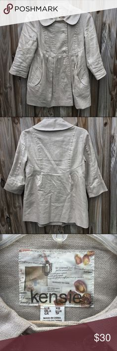 Kensie silvery linen cotton jacket. EUC. Size XS. Kensie silvery linen cotton jacket. EUC. Size XS.  Double breasted jacket.  Clear buttons. 3/4 sleeves. Fully lined. Lovely silvery fabric. Kensie Jackets & Coats
