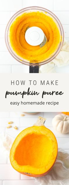 Can't find canned pumpkin? No worries. Making your own pumpkin puree is so easy! Here's how: scoop the seeds, roast, blend and use in recipes that call for pumpkin puree. #pumpkin #pumpkinpuree #fallrecipes #thanksgiving #cannedpumpkin #eatingbirdfood