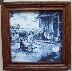 13 e           Holländische Kachel Fliese mit Rahmen Mosa Painting, Art, Old Frames, Baroque, Auction, Antiquities, Tile, Landscape, Crafting