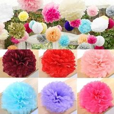 Tissue Paper Pom Poms Flower Balls Wedding Party Baby Shower Decor. Description: Materal: Tissue Paper Color: Pink / Red / Rose red / Blue / Purple Size: 3 Sizes For Choosing 8inch/20cm 10inch/25cm 14inch/35cm Other sizes pls refer to following picture Package Included: 1 X Tissue Paper Flower Ball (unfinished) Notice: 1.Please allow 1-3mm error due to manual measurement. pls make sure you do not mind before you bid. 2.The colors may have difference as the different display, pls understand.