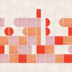 Tile Patterns, Textures Patterns, Tile Design, Layout Design, Red Tiles, Unique Tile, Color Glaze, Basic Shapes, Color Effect