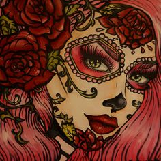Day of the Dead Rockabilly Pin Up Pink Hair Dia De Los Muertos  Lowbrow Tattoo art Print 12 by 12. $23.00, via Etsy.
