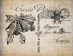 Antique Ornate Holiday Season Christmas Bells Paris Postcard Digital Download for Papercrafts, Transfer, Pillows, etc Burlap No. 5289