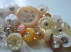 Vintage Buttons  lot of 22 assorted pinks white by pillowtalkswf, $10.25