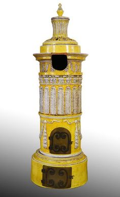 """20th C. Italian Seven-piece Majolica Stove with embellished leaf design with swags and ribbon, iron door on bottom, rests on round circular base, awesome look, 80""""Hx28""""W"""