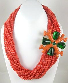 Kenneth J lane Vintage Costume Jewelry, Vintage Costumes, Vintage Jewelry, Funky Jewelry, Coral Jewelry, Faux Pearl Necklace, Diy Necklace, Walmart Jewelry, Art Carved