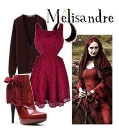 """Melisandre"" by companionclothes ❤ liked on Polyvore featuring Uniqlo, Ana Accessories, Diba and game of thrones"