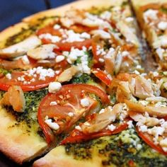Chicken Pesto Pizza - a combination of chicken, tomatoes, basil pesto and feta cheese.