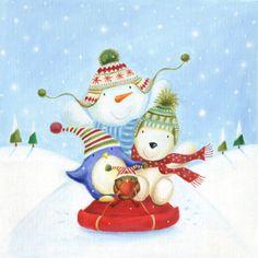 Ileana Oakley - christmas sledge penguin snowman bear.jpg