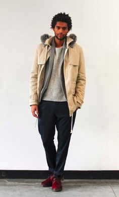 slimming suit jacket, paired with neutral parka and casual trousers. All subtleties but so perfect.