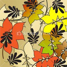 Искусство стилизации яркие цвета листьев шаблон, Осенний фон — Stock Illustration #30393913