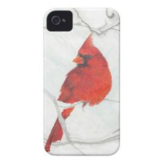 Winter Cardinal Drawing iPhone 4 Case-Mate Case - winter gifts style special unique gift ideas