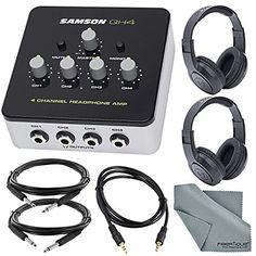 samson qh4 4-channel headphone amplifier bundle with 2 samson stereo headphones