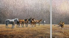 horse painting by Bonnie Marris - THE PLAYGROUND SHOWOFF
