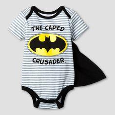 Baby Boys' Batman Caped Crusader Bodysuit with Cape - Black 6-9M, Infant Boy's, Size: 6-9 M