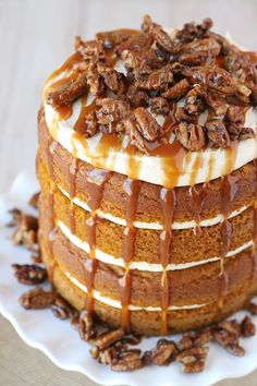 This Pumpkin Salted Caramel Cake is a delicious and impressive fall dessert! Pumpkin Cake, Salted Caramel Frosting and Candied Pecans... YUM!