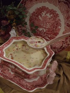 Now this is the way to serve soup to your guests!  Mason's Vista Red Transferware Soup Tureen